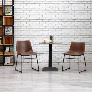 Cadeira de jantar couro artificial castanho-claro - PORTES GRÁTIS