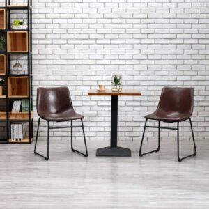 Cadeira de jantar couro artificial castanho brilhante - PORTES GRÁTIS