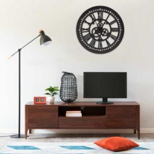 Relógio de parede 70 cm MDF preto - PORTES GRÁTIS