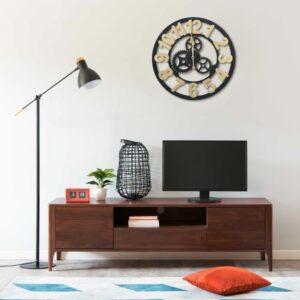 Relógio de parede 70 cm MDF dourado e preto - PORTES GRÁTIS