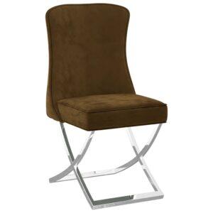 Cadeira de jantar 53x52x98 veludo e aço inoxidável castanho - PORTES GRÁTIS