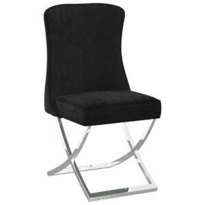 Cadeira de jantar 53x52x98 cm veludo e aço inoxidável preto - PORTES GRÁTIS
