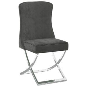 Cadeira de jantar 53x52x98 cm veludo e aço inoxidável cinzento - PORTES GRÁTIS