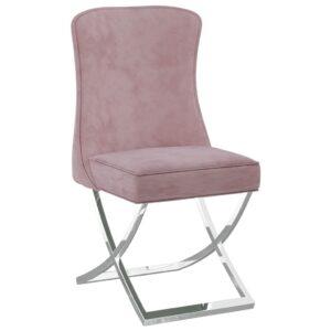 Cadeira de jantar 53x52x98 cm veludo e aço inoxidável rosa - PORTES GRÁTIS