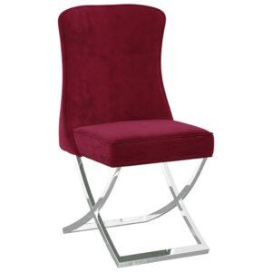 Cadeira jantar 53x52x98 cm veludo aço inoxidável vermelho tinto - PORTES GRÁTIS