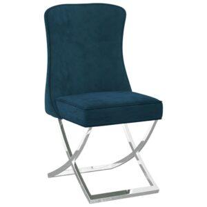 Cadeira de jantar 53x52x98 cm veludo e aço inoxidável azul - PORTES GRÁTIS