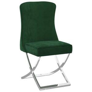 Cadeira jantar 53x52x98 cm veludo e aço inoxidável verde-escuro - PORTES GRÁTIS