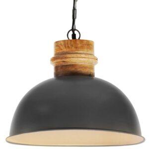 Candeeiro teto industrial redondo 42 cm E27 mangueira cinzento - PORTES GRÁTIS