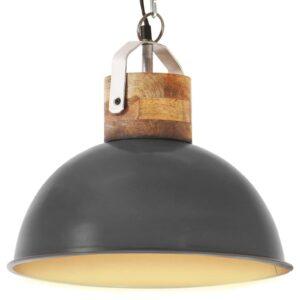 Candeeiro teto industrial redondo 32 cm E27 mangueira cinzento - PORTES GRÁTIS