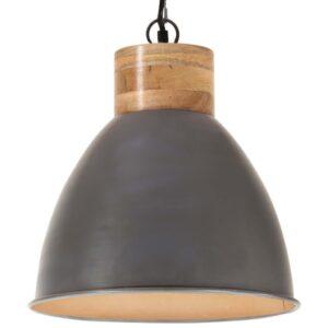 Candeeiro teto industrial 46cm E27 ferro cinza e madeira maciça - PORTES GRÁTIS
