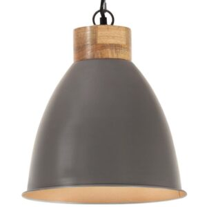 Candeeiro teto industrial 35cm E27 ferro cinza e madeira maciça - PORTES GRÁTIS