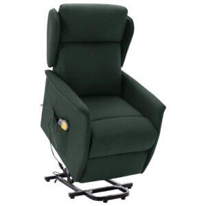 Poltrona elevatória de massagens tecido verde-escuro - PORTES GRÁTIS