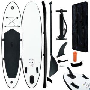 Conjunto prancha de paddle SUP insuflável preto e branco - PORTES GRÁTIS