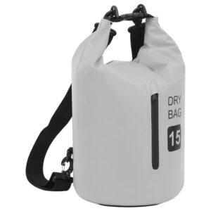 Bolsa impermeável com fecho 15 L PVC cinzento - PORTES GRÁTIS