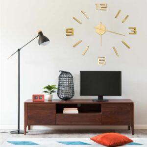 Relógio de parede 3D com design moderno 100 cm XXL dourado - PORTES GRÁTIS