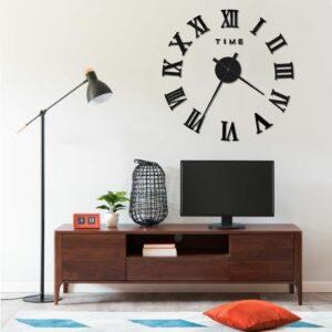 Relógio de parede 3D design moderno 100 cm XXL preto - PORTES GRÁTIS