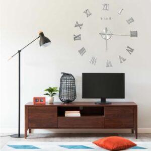 Relógio de parede 3D com design moderno 100 cm XXL prateado - PORTES GRÁTIS