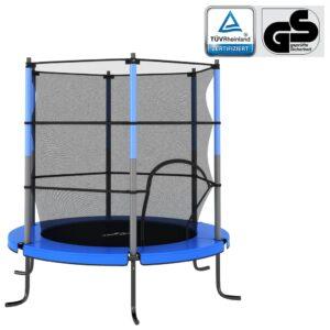 Trampolim com rede de segurança redondo 140x160 cm azul - PORTES GRÁTIS