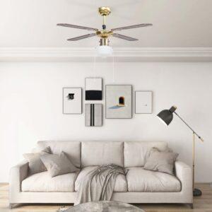Ventoinha de teto com luz 106 cm castanho - PORTES GRÁTIS