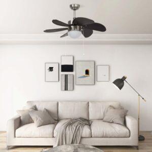 Ventoinha de teto com luz 76 cm castanho-escuro - PORTES GRÁTIS