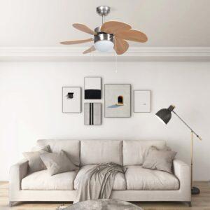 Ventoinha de teto com luz 76 cm castanho-claro - PORTES GRÁTIS