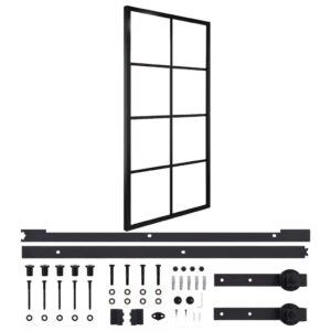 Porta de correr + ferragens 102,5x205cm alumínio e vidro ESG - PORTES GRÁTIS