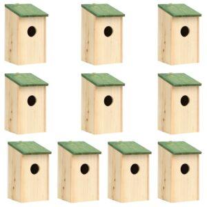 Casas para pássaros 10 pcs 12x12x22 cm madeira de abeto maciça  - PORTES GRÁTIS
