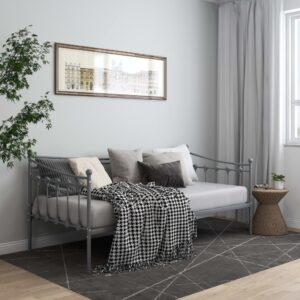Sofá-cama 90x200 cm metal cinzento - PORTES GRÁTIS