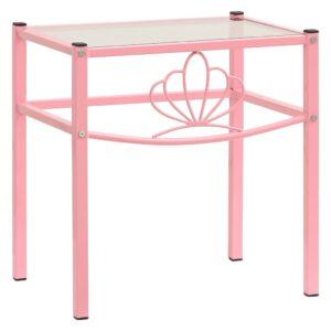 Mesa cabeceira 42,5x33x44,5 cm metal rosa e vidro transparente - PORTES GRÁTIS
