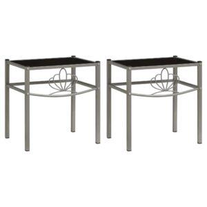 2 Mesas cabeceira metal cinzento e vidro preto - PORTES GRÁTIS