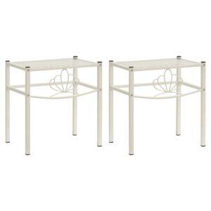 2 Mesas cabeceira metal branco e vidro transparente - PORTES GRÁTIS