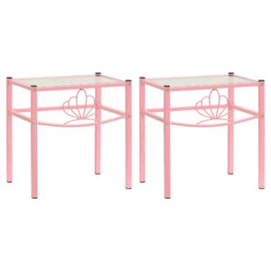 2 Mesas cabeceira metal rosa e vidro transparente - PORTES GRÁTIS