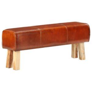 Boque de ginásio 120 cm couro genuíno castanho/mangueira maciça - PORTES GRÁTIS