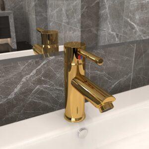 Torneira para lavatório de casa de banho 130x176 mm dourado - PORTES GRÁTIS