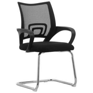 Cadeira de escritório cantilever tecido de malha preto - PORTES GRÁTIS