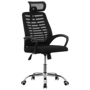 Cadeira de escritório giratória tecido de malha preto - PORTES GRÁTIS