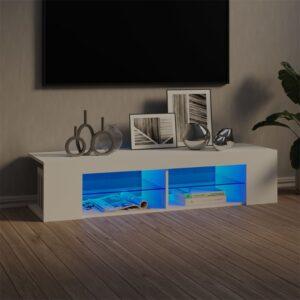 Móvel de TV com luzes LED 135x39x30 cm branco - PORTES GRÁTIS