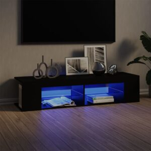 Móvel de TV com luzes LED 135x39x30 cm preto - PORTES GRÁTIS