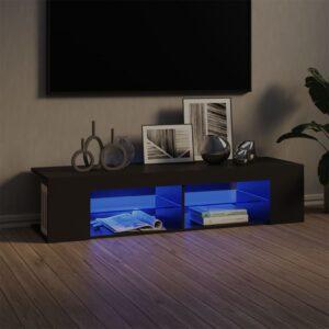 Móvel de TV com luzes LED 135x39x30 cm cinzento - PORTES GRÁTIS