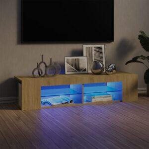Móvel de TV com luzes LED 135x39x30 cm carvalho sonoma - PORTES GRÁTIS