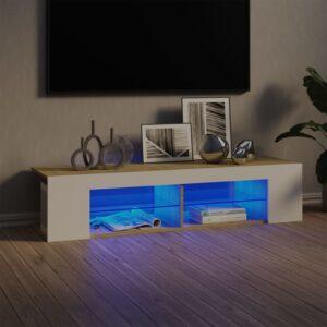 Móvel de TV com luzes LED 135x39x30 cm branco/carvalho sonoma - PORTES GRÁTIS