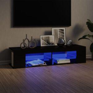 Móvel de TV com luzes LED 135x39x30 cm preto brilhante - PORTES GRÁTIS