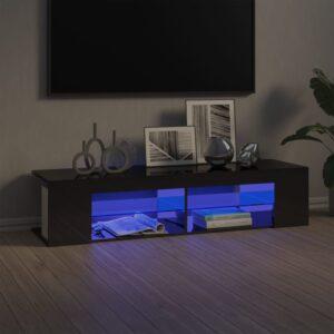 Móvel de TV com luzes LED 135x39x30 cm cinzento brilhante - PORTES GRÁTIS