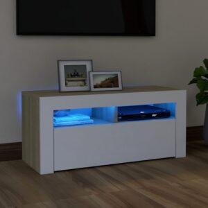 Móvel de TV com luzes LED 90x35x40 cm branco e carvalho sonoma - PORTES GRÁTIS