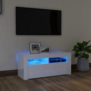 Móvel de TV com luzes LED 90x35x40 cm branco brilhante - PORTES GRÁTIS