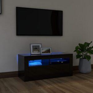 Móvel de TV com luzes LED 90x35x40 cm preto brilhante - PORTES GRÁTIS