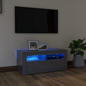 Móvel de TV com luzes LED 90x35x40 cm cinzento brilhante - PORTES GRÁTIS