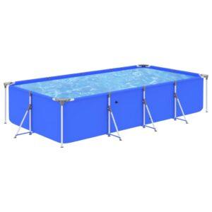 Piscina com estrutura de aço 394x207x80 cm azul - PORTES GRÁTIS
