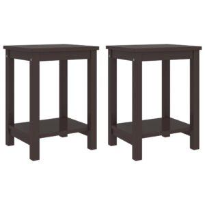 2 Mesas cabeceira 35x30x47cm pinho maciço castanho-escuro - PORTES GRÁTIS