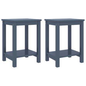 2 Mesas cabeceira 35x30x47cm pinho maciço cinzento-claro - PORTES GRÁTIS